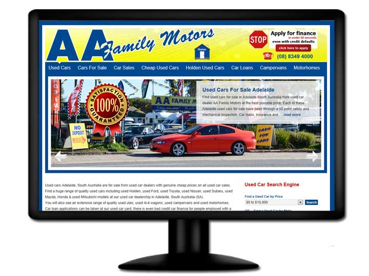 Read about the website design for AA Family Motors